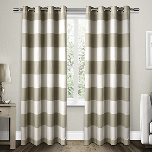 Exclusive Home Curtains Santa Monica Striped Grommet Top Window Curtain Panel Pair, Taupe, 54x96 (Striped Silk Curtains)