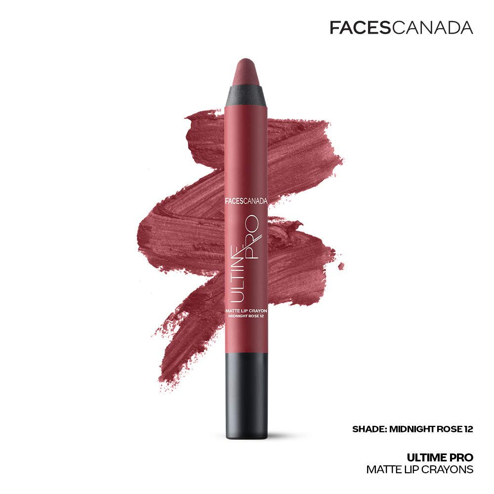 Faces Canada Ultime Pro Matte Lip Crayon Midnight Rose 12 2.8 g With Free Sharpener
