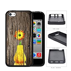 Yellow Vase Sunflower On Wood Bark Rubber Silicone TPU Cell Phone Case Apple iPhone 5c