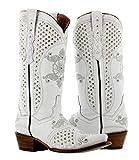 Cowboy Professional - Women's White Marfil Rhinestones Wedding Cowboy Boots Snip 8.5 BM