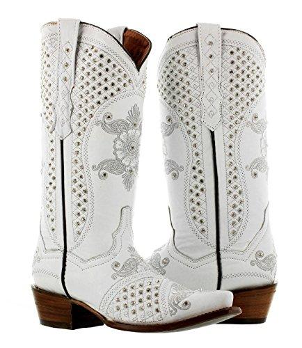 Cowboy Professional - Women's White Marfil Rhinestones Wedding Cowboy Boots Snip 8.5 BM by Cowboy Professional