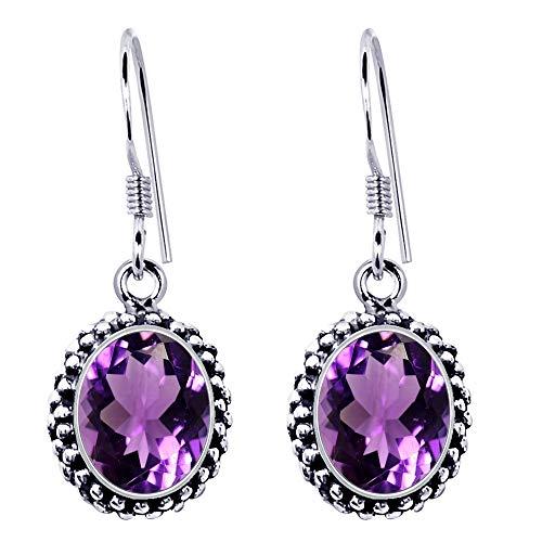 Natural Purple Amethyst Earrings By Orchid Jewelry: Hypoallergenic Dangle Earrings For Sensitive Ears, Nickel Free Wedding Earrings, Sterling Silver Dangling Earrings  (6.22 Ctw)