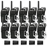 Retevis RT28 Walkie-Talkies with Earpiece Two-Way Radios Long Range Rechargeable FRS Emergency Alarm VOX Handsfree 2 Way Radios Commercial (10 Pack)