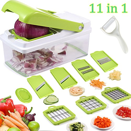 Vegetable Fruit Slicer Dicer, Artbest Multipurpose Food Chopper Cuber Cutter, Cheese Grater Effortless No-Mess Julienne Slicer for Salad Soup Preparing, Kitchen Necessity for Vegan, Chef, Housewife (Multi Purpose Cheese Grater)