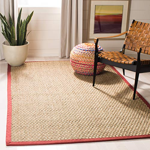 Safavieh Natural Fiber Collection NF114D Basketweave Natural and Red Summer Seagrass Area Rug (8' x -