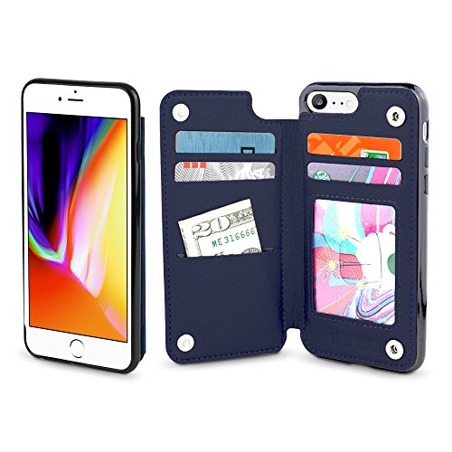 Gear Beast iPhone 8 / 7 Wallet Case, Top View Flip Folio For iPhone 8/7 Slim Protective PU Leather Case 4 Slot Card Holder including ID Holder for Men & - Protector Case Top