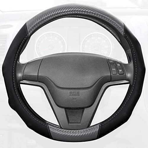 BDK Motor Trend GripDrive Carbon Fiber Series - Steering Wheel Cover - Synthetic Leather w/Traction Grooves (Gray)