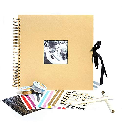 12x12 Inch Scrapbook Album with Photo Opening for Valentines Day Gifts Wedding Guest Book, Memory Scrapbooking, 80 Black Pages (40 Sheets) with DIY Accessories - Album Kit Scrapbooking Page