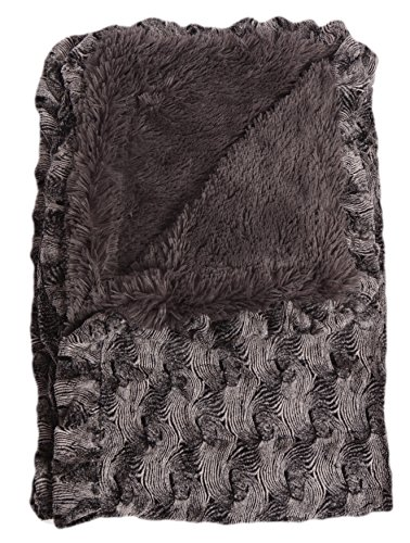 BESSIE AND BARNIE Arctic Seal Ruffle/Wolfhound Grey Luxury Shag Ultra Plush Faux Fur Pet, Dog, Cat, Puppy Super Soft Reversible Blanket (Multiple Sizes)