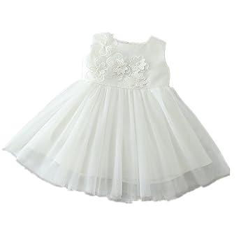 H/B bebé niña flor marfil 1 año Birhtday vestido bautizo ...