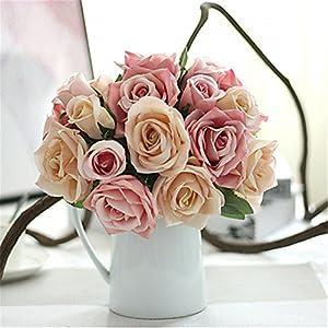 JJH 9 Branch Silk Plants Tabletop Flower Artificial Flowers 2