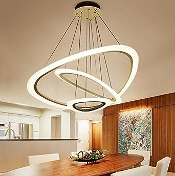 Ringleuchte Ringe Drei Hngelampe Wohnzimmer Modern Led Dimmbar Lampe 2835 Strip Esstischlampe Rund Drahtseil Acryl