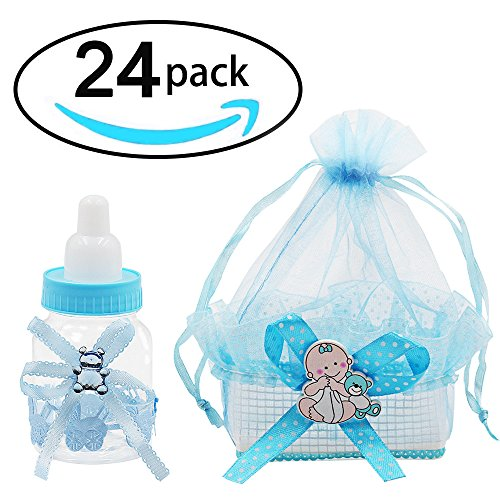 Noex Direct 24pcs Candy Bottle Gift Box and Organza Baby Shower Sheer Gift Bag Baby Shower Supplies for Baby Parties Birthday (Blue)]()
