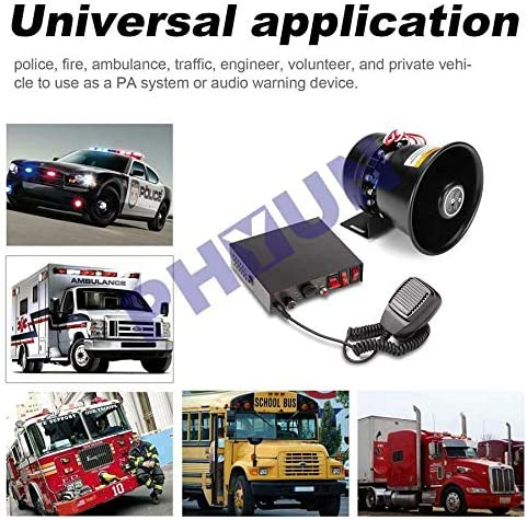 Universal Heavy Duty 150db 400W 9 Warning Tones Sound Car Warning Alarm Loud Fire Siren Horn PA Speaker With MIC System Rust Resistant Anti-theft Siren Hands-Free Operation