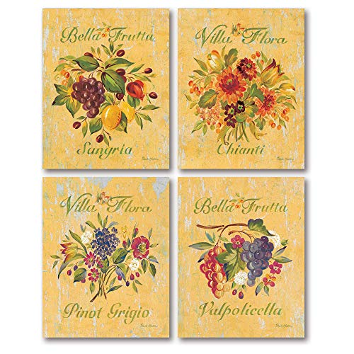 - Gango Home Decor Lovely, Rustic Sangria, Valpolicella, Chianti and Pinot Grigio Floral Signs; Four 11X14 Poster Prints