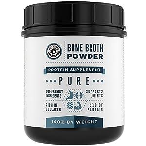 Bone Broth Protein Powder Pure 16oz, Grass Fed Beef Unflavored, Paleo Friendly, Gut Friendly, Non GMO, Dairy Free Protein Powder. Rich in Collagen, Glucosamine & Gelatin, Left Coast Performance
