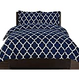 Printed Duvet-Cover-Set - Brushed Velvety Microfiber - Luxurious, Comfortable, Breathable, Soft & Extremely Durable - Wrinkle, Fade & Stain Resistant - Hotel Quality By Utopia Bedding (Navy, Queen)