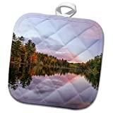 3dRose Danita Delimont - Lakes - Purple sunset over Irwin Lake, Hiawatha National Forest, Michigan. - 8x8 Potholder (phl_279070_1)