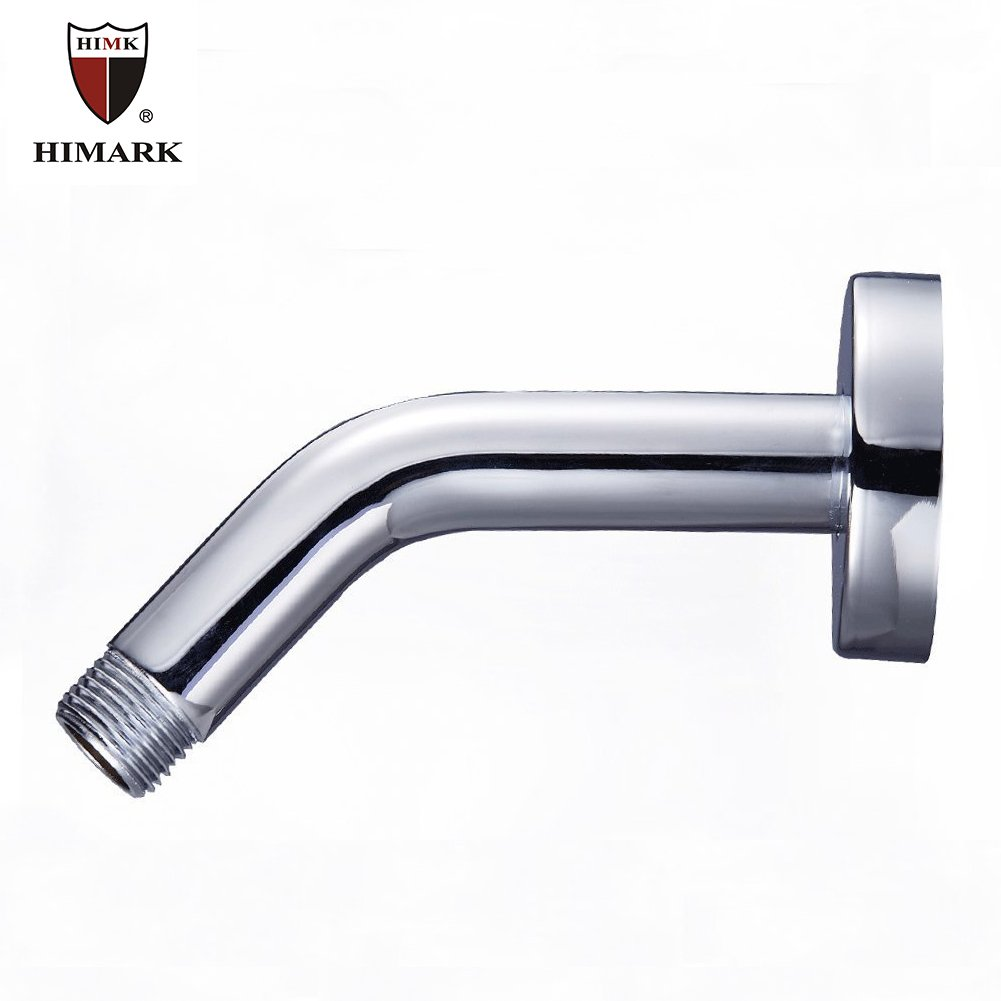 HIMARK Shower Arm Solid Brass 6 Inch Wall Mount Shower Arm Extension With Shower Arm Flange Rain Shower Head Arm Polish Chrome