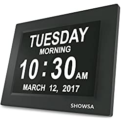 SHOWSA New Upgrade Day Clock, Day Clock, 5 Daily Alarms & 3 Medicine Reminder Digital Calendar Alarm Clock Elderly Extra Large Desk Clock Reminder for Impaired Vision & Dementia Alzheimer's