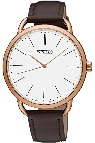 (Seiko Womens Analogue Quartz Watch with Leather Strap SUR234P1)