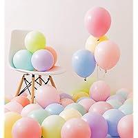 SKYRI Fiestas Globos de Colores para Cumpleaños Decoraciones de Bodas Paquete de 100, 2,2 g Espesar 10 Inch Látex Globo de Colores Macaron Caramelos Surtidos Color Balloons for Party Birthday Wedding