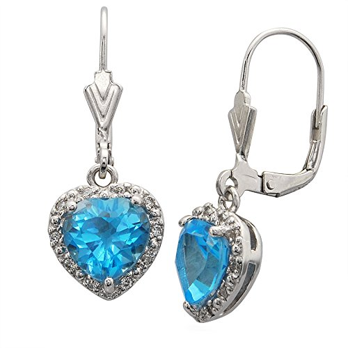 Heart Earrings Shape Silver Sterling (Sterling Silver Heart Shape Natural Blue Topaz Earrings)