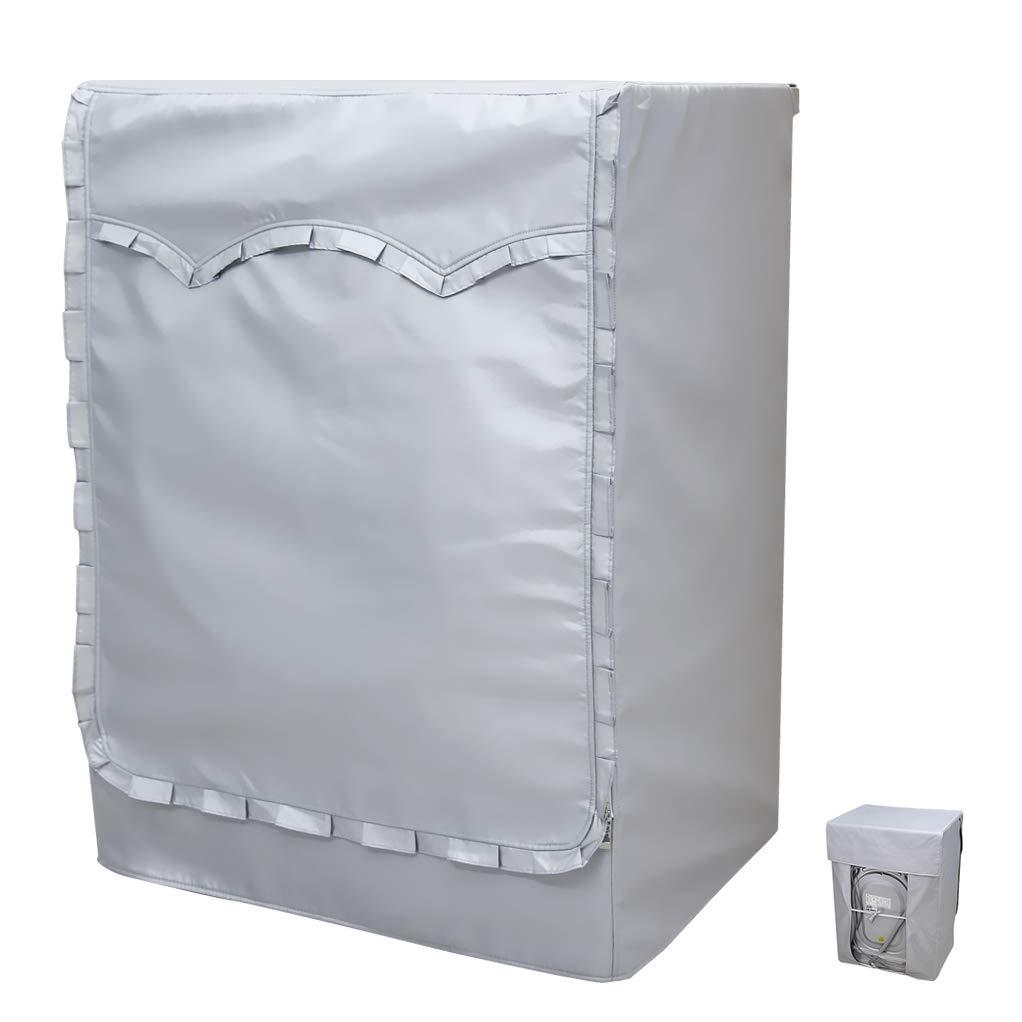 [Mr.You]machine à laver couvrir revêtue d'une couche d'argent épaissie écran solaire étanche à l'eau de la poussière l'utilisation en plein air 5 ans durée de vie fleur edge(60*85*53cm)