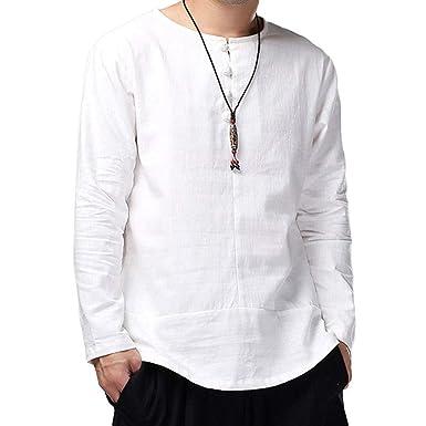 Chemise en Lin pour Homme Haut Homme Chemises Vintage Chemises Casual  T-Shirt Manches Longues 4ed38f755ed