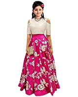 Women Wed Kids Party Wear Pink Banglory Silk Semi-Stitched Dress for Girl (Gown_Free Size_10-15 year Girl _arohipink01)