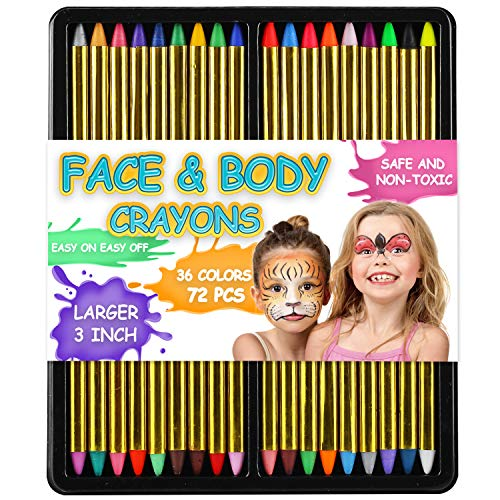 72 Pack 36 Color Face and Body Paint Crayon 3