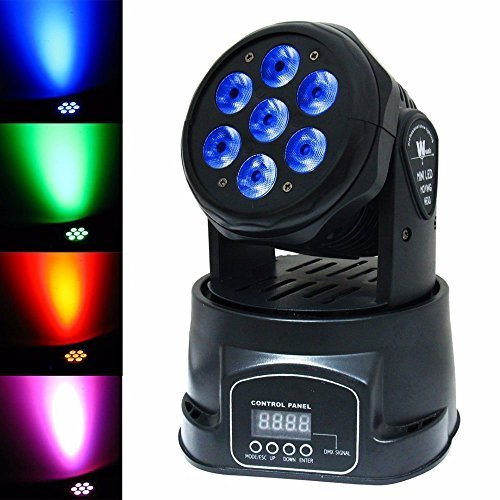 Liluminiso 100W (7 Lights x 15W) RGBW Par Lighting 4in1 CREE LED Mini Moving Head DJ Disco Stage Party Effect Lighting With Sound Active And DMX512 by Lilyminiso