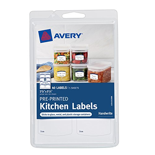 Avery Pre-Printed Kitchen Labels, Green Border, 1.75 X 1.25 Inches, Pack of 40 -