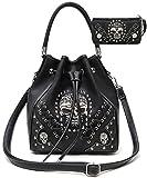 Search : Western Style Concealed Carry Sugar Skull Punk Art Purse Handbag Messenger Shoulder Bag Wallet Set Black
