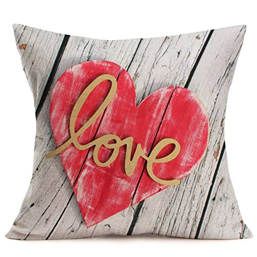 Smilyard Vintage Wooden Red Heart Decorative Pillow Covers Cotton Linen Love Word Decor Home Pillowcase Romance Theme Cushion Covers for Valentine's Day,Mother's Day,18x18 Inch(Wood - Plaid Pillow Heart
