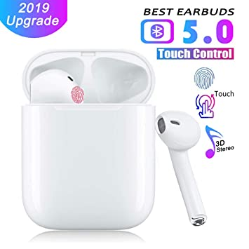 Support Fast Charging Wireless Earbuds Bluetooth 5.0 Headphones 2019 Latest Intelligent Noise Reduction Pop-ups Auto Pairing//iPhone//Apple//Samsung//Airpods and Airpod in-Ear Headphones