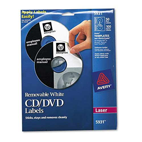 Avery 5931 Laser Labels Shuttered Jewel Case Inserts with Software for CD/DVD (Renewed)