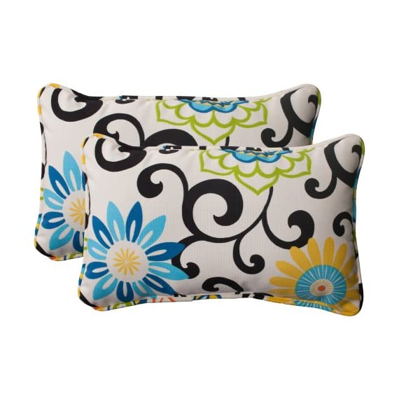 Indoor/Outdoor Pom Pom Play Corded Rectangular Throw Pillow, Lagoon, Set of 2 - Includes two (2) outdoor pillows, resists weather and fading in sunlight; Suitable for indoor and outdoor use Plush Fill - 100-percent polyester fiber filling Edges of outdoor pillows are trimmed with matching fabric and cord to sit perfectly on your outdoor patio furniture - living-room-soft-furnishings, living-room, decorative-pillows - 51owjPecUjL. SS570  -