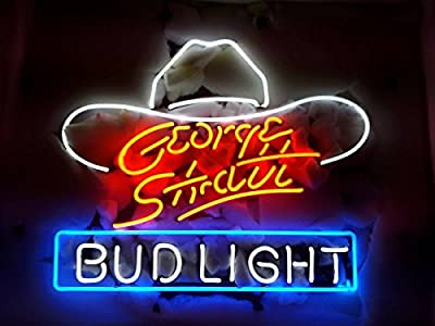 Desung New George Strait Bud-Light Neon Sign (Multiple Sizes Available) Man Cave Signs Sports Bar Pub Beer Neon Lights Lamp Glass Neon Light CX217