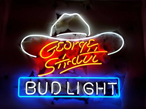 "Desung New 17""x13"" George Strait Bud-Light Neon Sign (Multiple Sizes Available) Man Cave Signs Sports Bar Pub Beer Neon Lights Lamp Glass Neon Light CX217"