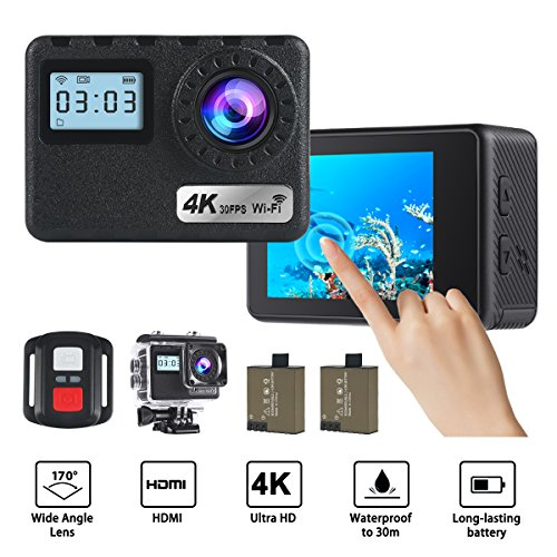36DR 4k WiFi Action Camera 16MP Waterproof Camera Touch Screen and 2.4G Remote Controler,170 Degree Wide Angle Sports Cam with 2pcs 1050mAh Rechargeable Batteries and Mounting Accessories Kits HankeRobotics