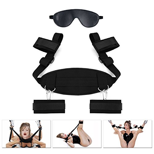 MELO Restraints Kit, Hand Ankle Cuff Restraint Set Cuff Bed Wrist Thigh Leg Restraints Sex Restraining Straps Bondage Sling, Bed Ties Restraints Adult Toys for Couples Men