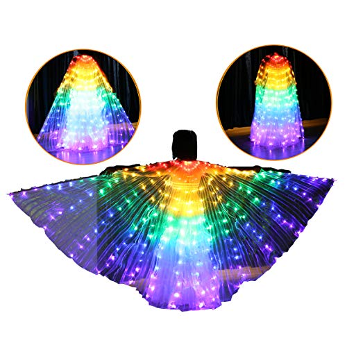 US FCC Certificated Super Bright 216 Lamps 270-Degree Safety Led Belly Dance Isis Wings Costumes (Only Wings)