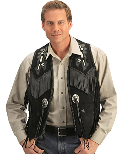 Scully Men's Beaded Boar Suede Leather Vest Black 50 R
