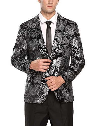 015 Glitter (COOFANDY Mens Fashion Glitter Floral Print Slim Fit Two Button Blazer Jacket)