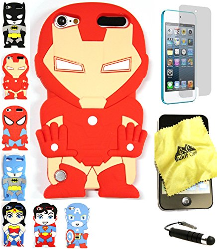 Bukit Cell 3D Superhero Bundle: Ironman Cute Justice League Cartoon Soft Silicone Case for Ipod Touch 6 6th Generation / 5 5th Generation + Cleaning Cloth + Screen Protector + Stylus Pen (Ipod Touch Superhero Cases)