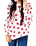 Womens Tops Casual Long Sleeve Valentines Day Love Printed Oversized Tunic Sweatshirts Shirts