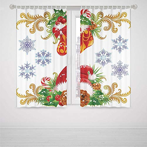 (Christmas Decorations Small Window Blackout Curtains,Classic Decorative Design with Stocking and Santa Hat Mistletoe Snowflakes,for Bedroom Living Dining Room Kids Youth Room,2 Panel Set,79W X 62L in)
