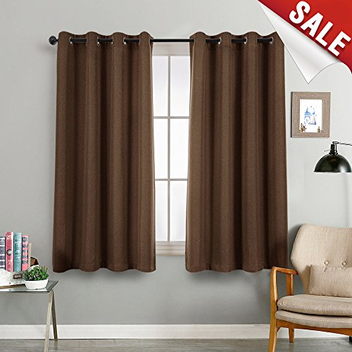 Window Linen Look - jinchan Linen Look Blackout Curtains for Living Room Thermal Insulated Room Darkening Window Treatment Grommet Curtain Panels, Single Panel 72