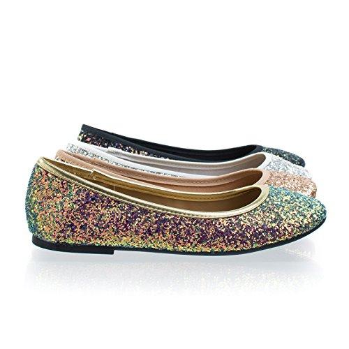 Bamboo Round Toe Ballet Flats, Ballerina Shoe In Glitter Metallic & F-Suede